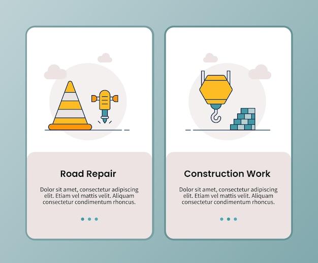 Campanha de trabalho de construção de reparo de estradas para modelo de aplicativos móveis de integração