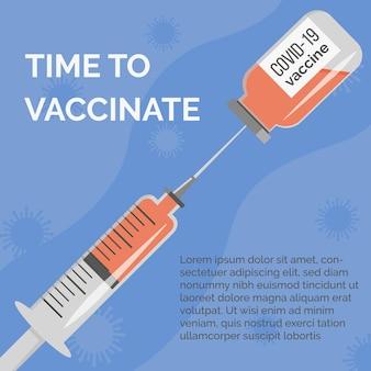 Campanha de vacinação contra o coronavírus ilustração em vetor de frasco de vacina e seringa