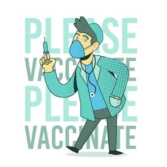 Campanha de vacinação de desenhos animados