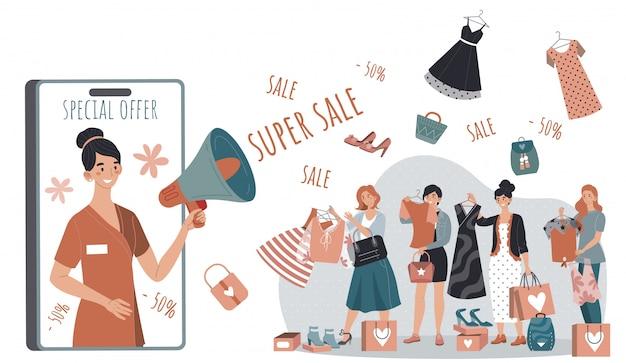 Campanha de venda comercial na loja de moda mulher, pessoas que compram roupas a preço de desconto, ilustração