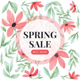 Campanha de venda de primavera em aquarela