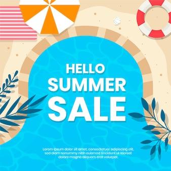 Campanha de venda de verão de design plano