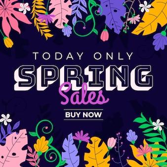 Campanha de venda promocional de primavera de design plano