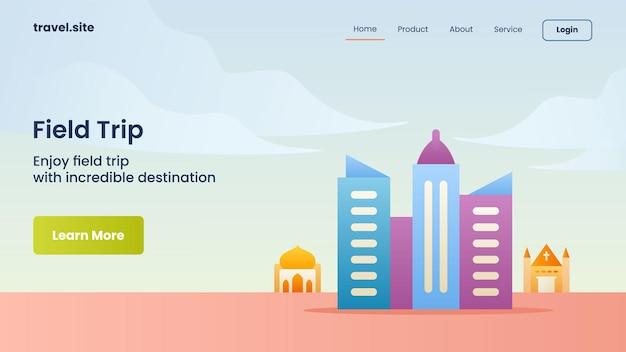 Campanha de viagem de campo para a aterrissagem da página inicial do website