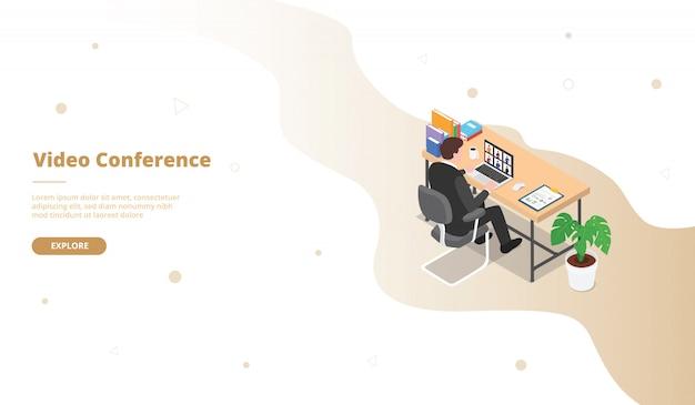Campanha de videoconferência com o trabalho do homem em sentar na mesa da mesa para o modelo de site web, aterrissando a página inicial da página inicial com plano 3d isométrico