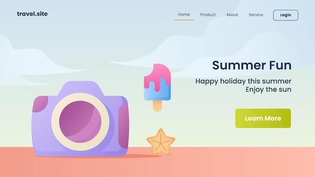 Campanha divertida de verão para modelo de banner da página inicial da página inicial do website