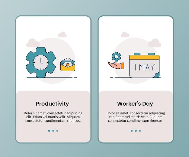 Campanha do dia do trabalhador de produtividade para modelo de aplicativo de integração de aplicativos móveis