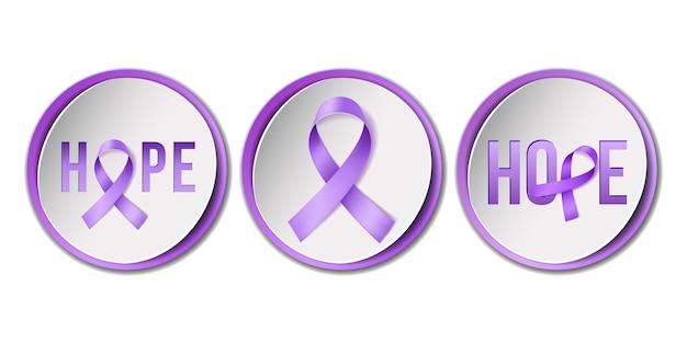 Campanha do mês de conscientização de fevereiro com fita roxa