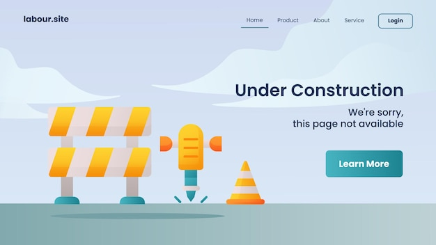 Campanha em construção para modelo de página de destino de página inicial de website