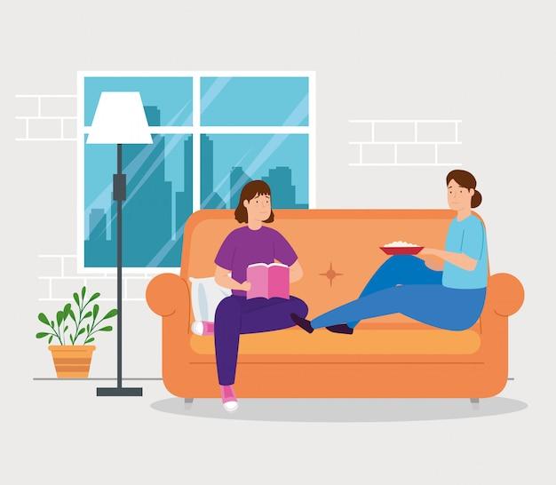 Campanha ficar em casa com as mulheres na sala de estar