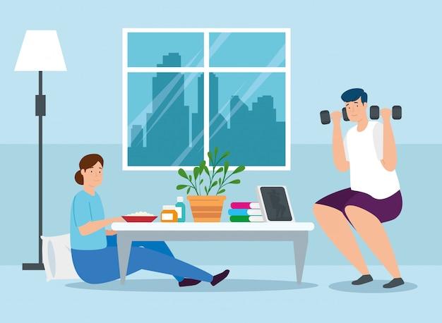 Campanha ficar em casa com design de ilustração vetorial casal
