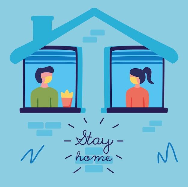 Campanha fique em casa com pessoas nas janelas do design de ilustração vetorial de construção