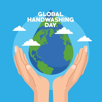 Campanha global do dia da lavagem das mãos com as mãos protegendo o planeta terra em gota d'água