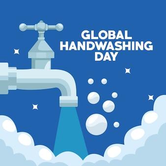 Campanha mundial do dia da lavagem das mãos com torneira de água e espuma