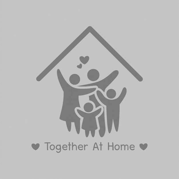 Campanha together at home, fique em casa e fique seguro. distanciamento social