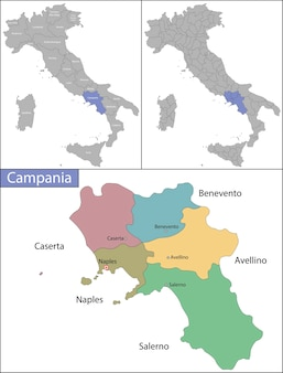 Campânia é uma região administrativa da itália localizada na porção sudoeste da península italiana