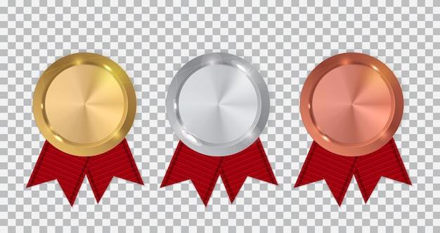 Campeão das medalhas de ouro, prata e bronze com fita vermelha.