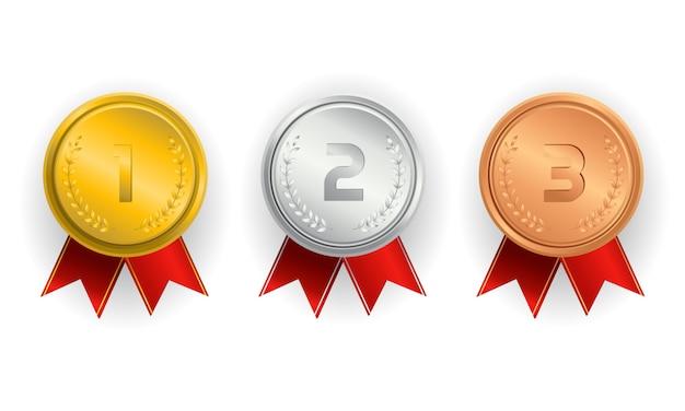Campeão de medalhas de ouro, prata e bronze com fitas vermelhas