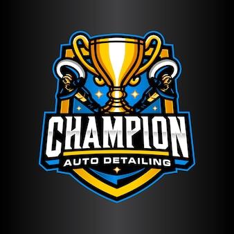 Campeão detalhando modelo de logotipo