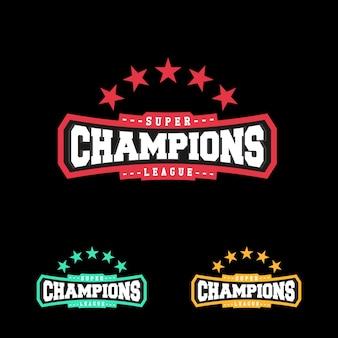 Campeão emblema do emblema do emblema do emblema da liga esportiva gráfico tipografia