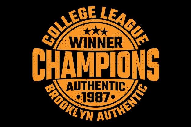 Campeões da liga universitária estilo vintage