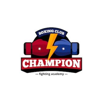 Campeões de boxe academia de combate club design de logotipo em azul e vermelho com ilustração em vetor abstrato plana relâmpago dourado