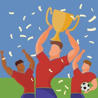 Campeões de futebol com troféu vencedores