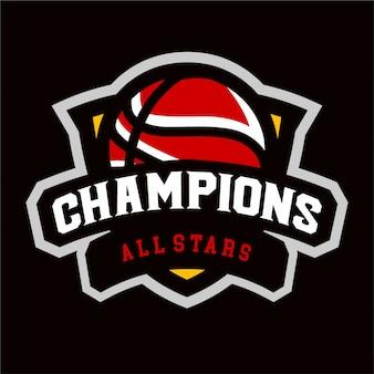 Campeões de logotipo de esporte de basquete