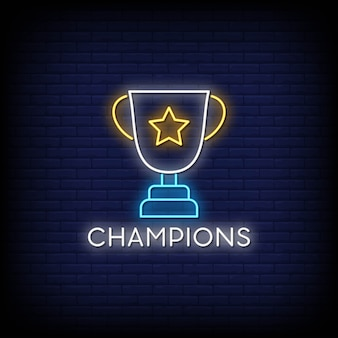 Campeões tabuleta de néon na parede de tijolo