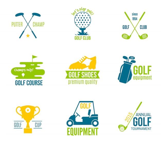 Campeonato de clube de golfe e equipamento etiqueta colorida conjunto ilustração vetorial isolado