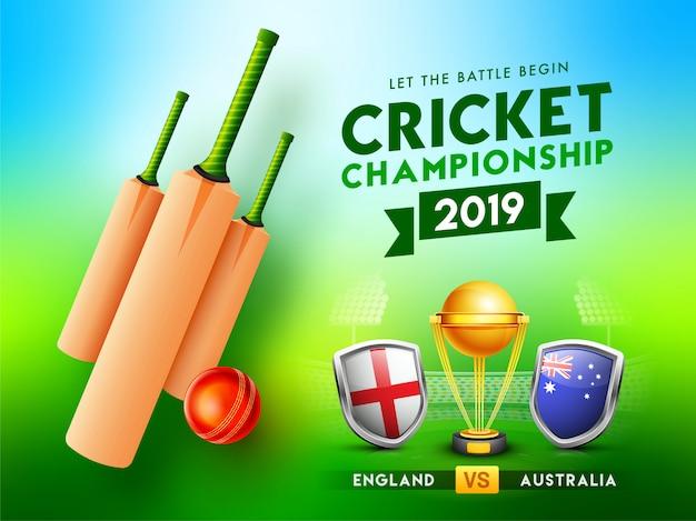 Campeonato de críquete 2019 conceito.