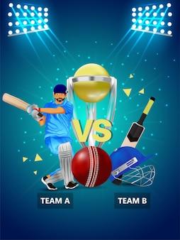 Campeonato de críquete de ilustração criativa com estádio