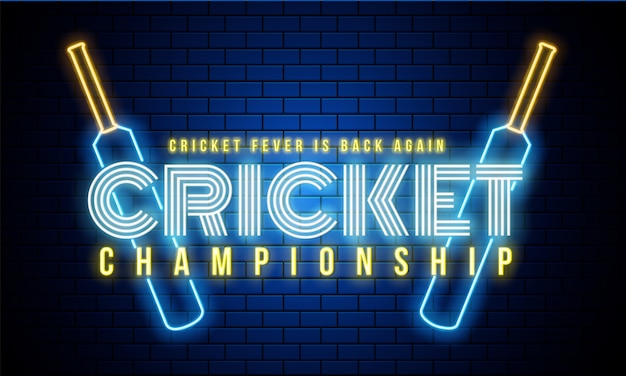 Campeonato de críquete de texto de néon