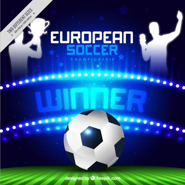Campeonato de futebol europeu brilhante com uma bola e os vencedores