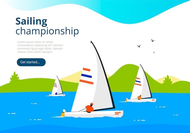 Campeonato de vela de mar. modelo de banner da web de esporte de iate clube