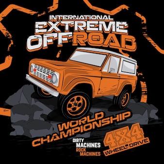 Campeonato offroad extrema, ilustração vetorial de carro