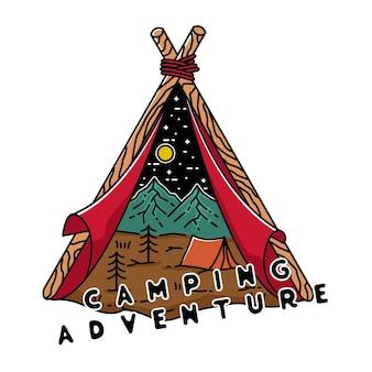 Camping adventure vintage monoline design