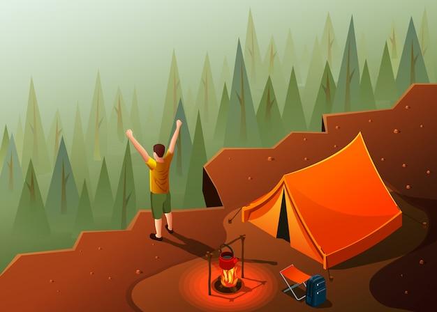 Camping caminhadas composição isométrica de ícones com paisagem de topo de montanha e tenda com fogueira e ilustração de homem feliz
