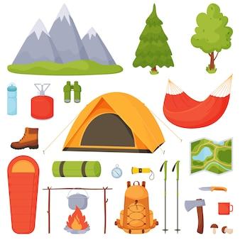 Camping, caminhadas, conjunto de camping.