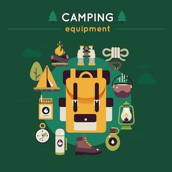 Camping colorido composição