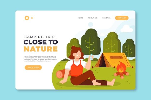 Camping com design de página de destino de barraca