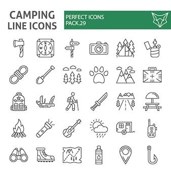 Camping conjunto de ícones de linha, coleção de caminhadas