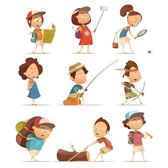 Camping crianças desenhos animados ícones conjunto com ilustração vetorial de equipamento isolado