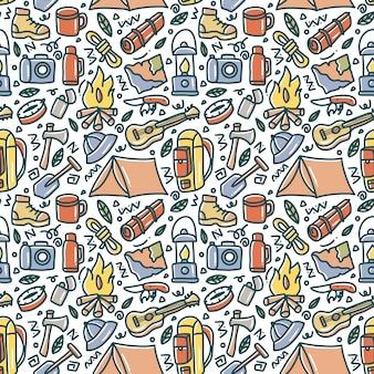 Camping doodle elemento sem costura padrão