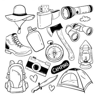 Camping doodle mão desenhada