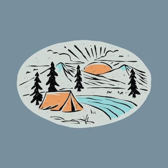 Camping e lindo nascer do sol ilustração gráfica arte vetorial design de t-shirt