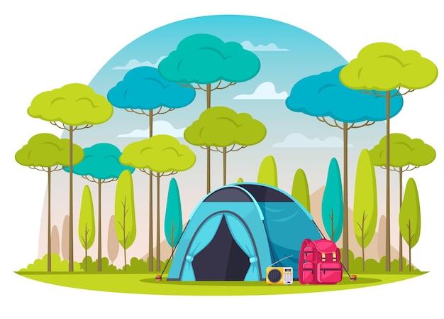 Camping em composição de bosque com desenho de mochila de rádio de tenda azul