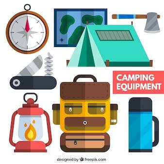 Camping equipamentos em design plano