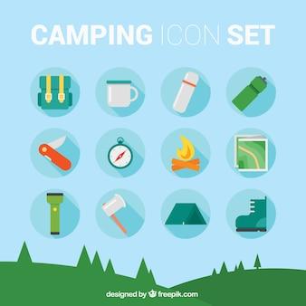 Camping ícone conjunto
