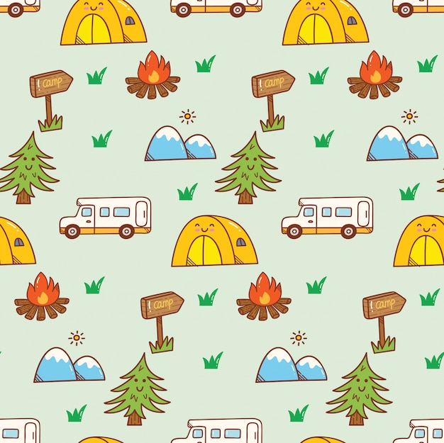 Camping kawaii doodle fundo